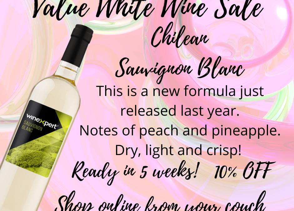 Value White Wine Sale for March